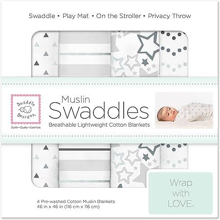 SwaddleDesigns Cotton Muslin Swaddle Blankets, Set of 4, Sterling Starshine Shimmer (Parents' Picks Award Winner)