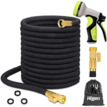 """Higen 100ft Upgraded Expandable Garden Hose Set, Extra Strength Fabric Triple Layer Latex Core, 3/4"""" Solid Brass Fittings, 9 Function Spray Nozzle with Storage Bag, Premium No-Kink Flexible Water Hose"""