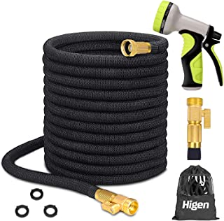 Higen 100ft Upgraded Expandable Garden Hose Set, Extra Strength Fabric Triple Layer Latex..