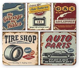 Lunarable 1950s Mouse Pad, Vintage Car Signs Automobile Advertising Repair Vehicle Garage Classics Servicing, Rectangle Non-Slip Rubber Mousepad, Standard Size, Burgundy