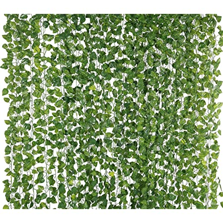 VRCT Artificial Garlands Hanging Leaves Greenery Vine Creeper Plants (Green, Set Of 6,6.5 Feet Each)
