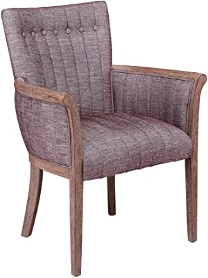 Benjara Fabric Upholstered Tufted Back Accent Chair with Flared Arms, Brown