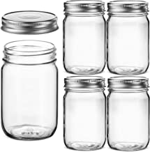 Glass Regular Mouth Mason Jars, 12 Ounce Glass Jars with Silver Metal Airtight Lids for Meal Prep, Food Storage, Canning, ...