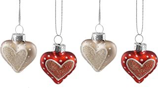 Creative Co-op Glittery Love Heart Hanging Valentines Ornament Set of 4