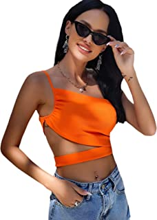 Verdusa Women's Cut Out Ruched One Shoulder Sleeveless Crop Cami Top