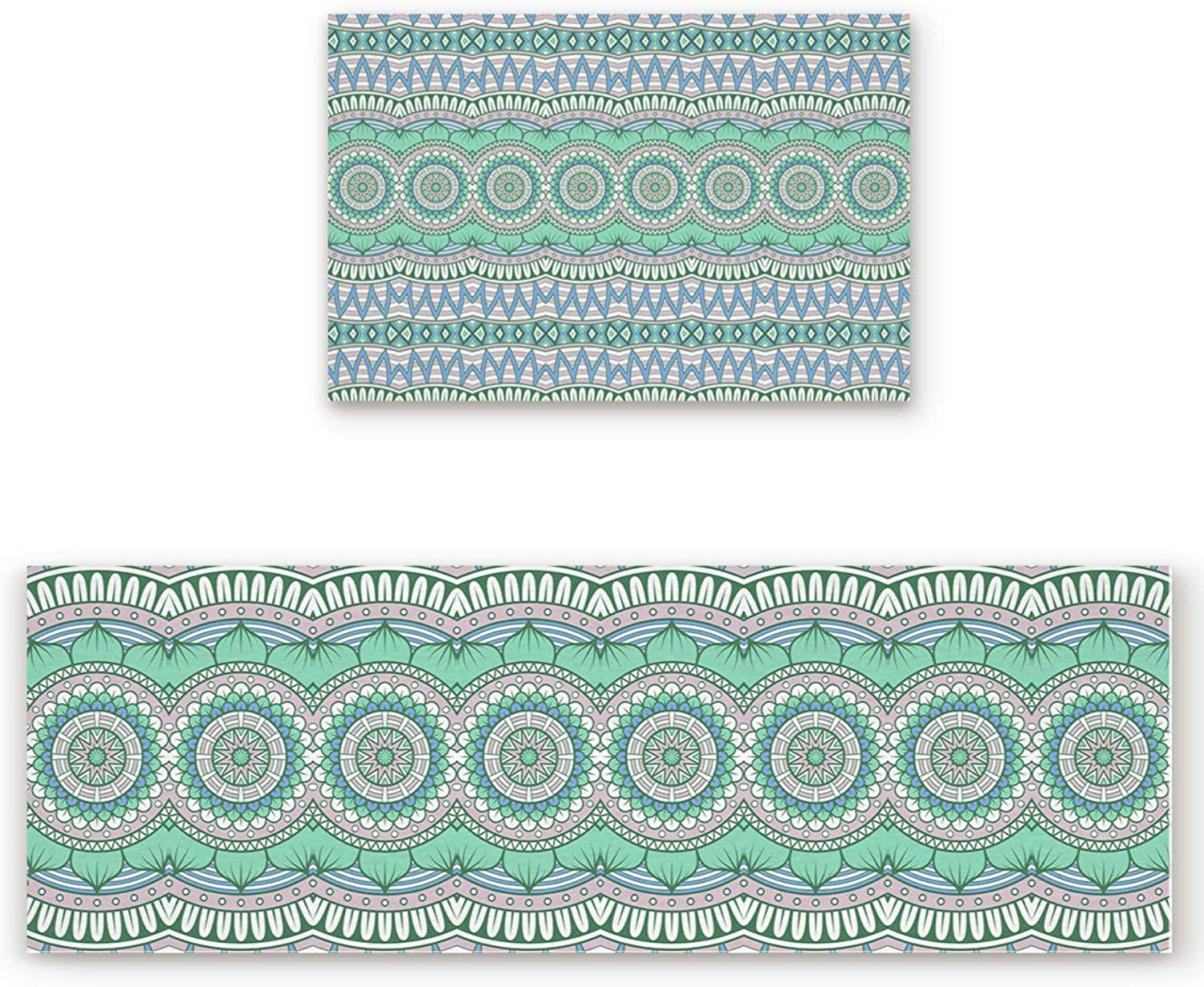 SODIKA 2 Pieces Kitchen Rug Set,Non-Skid Slip Washable Doormat Floor Runner Bathroom Area Rug Carpet,Mandala Boho Style (19.7x31.5in+19.7x63 inches)
