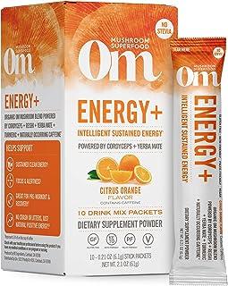 Om Organic Mushroom Nutrition Superfood Drink Mix, Energy Plus, Citrus Orange, 2.1 Ounce (10 Packets), Cordyceps & Yerba M...