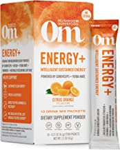product image for Om Organic Mushroom Nutrition Superfood Drink Mix, Energy Plus, Citrus Orange, 2.1 Ounce (10 Packets), Cordyceps & Yerba Mate, Immune Support Supplement