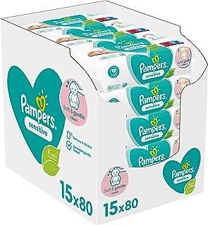 Pampers Sensitive Billendoekjes, 1200 Babydoekjes, Unieke pH Beschermende Formule, Zonder Parfum, Dermatologisch Getest (1...