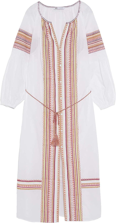 Zara 4786/058 - Vestido Bordado con cinturón para Mujer ...