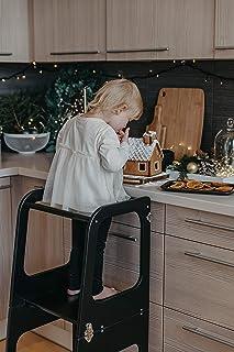 Sweet Home from wood Plataforma de Madera para Trepar en la Cocina para Bebés y Niños - Torres Ajustables para Encimeras y Mesa - Taburete Seguro y Duradero - Learning Tower (Negro)