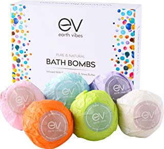 Earth Vibes Bath Bombs Gift Set - Natural Bath Fizzies Infused With Essential Oils - Moisturizes Dry Skin With Shea Butter Vitamin E Aloe Vera - Handmade For Women Men & Kids - 6 x 4.2