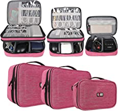 BUBM 3Pcs Universal Travel Cable Organizer Electronics Accessories Carry Bag for Cables, Cord, USB Flash Drive, Battery and More,Denim Pink