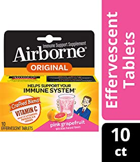 Airborne Immune Support Effervescent Tablets, Pink Grapefruit Flavored-1000mg Vitamin C With Echinacea, Vitamin A & E, Gluten Free, 10 Count (Pack of 6)