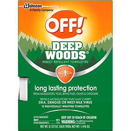 OFF! Deep Woods Mosquito and Insect Repellent Wipes, Long Lasting, 12 Individually Wrapped Wipes (2)