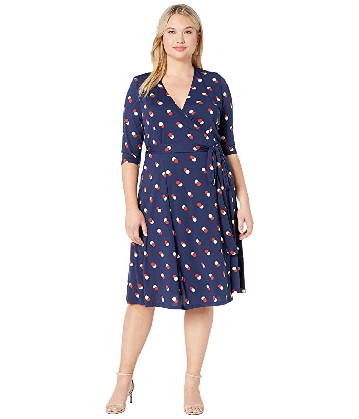Kiyonna Essential Wrap Dress (Navy Dot Duo) Women's Dress