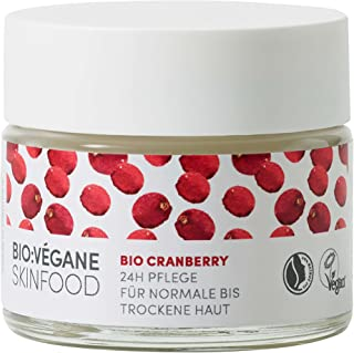 BIO:VÉGANE SKINFOOD Organic Cranberry 24h Care for Normal to Dry Skin, Vegan, NATRUE-Certified, Lasting Care for Low-Moist...