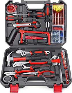 Arrinew Tools Kit 108pcs DIY General Household Hand Tool Kit with Plastic Toolbox Storage Case for Daily Repair and Mainte...