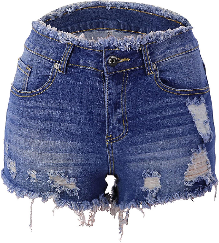 Women's Washed Ripped Denim Shorts Fashion Trend All-Match Classic Frayed Denim