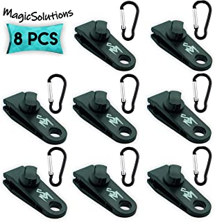 MagicSolutions (8 Pack Tarp Clips with Carabiner | Great for Outdoors Camping Awning Tent | Canopies and Covers | Powerful Thumb Screw & Locking Jaws Material.