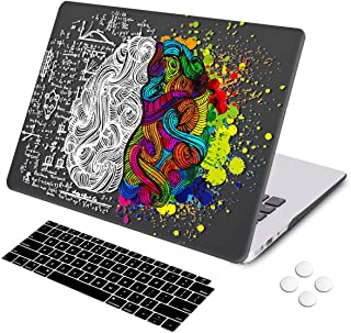 MacBook Air 13 inch Case, DQQH Rubber Coated Ultra Thin Protective Hard Shell Cover+Keyboard Cover for Older Version MacBook Air 13 inch Model A1369/A1466 Before 2018- Brain