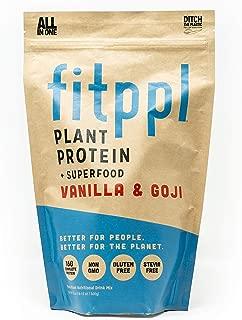 fitppl Vanilla & Goji Plant Protein + Superfood | Organic Ingredients, Stevia-Free, Gluten-Free, Vegan, Non-GMO, All Natural, Eco-Friendly Protein Powder - (20 Servings)