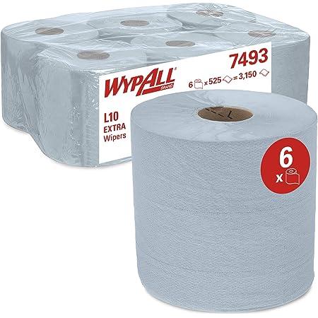 WypAll* Essuyeurs L10 EXTRA 7493, 6 rouleaux de 525 formats (3150 au total), 1 épaisseur, Essuie-tout industriel, Couleur : Bleu, 07493020