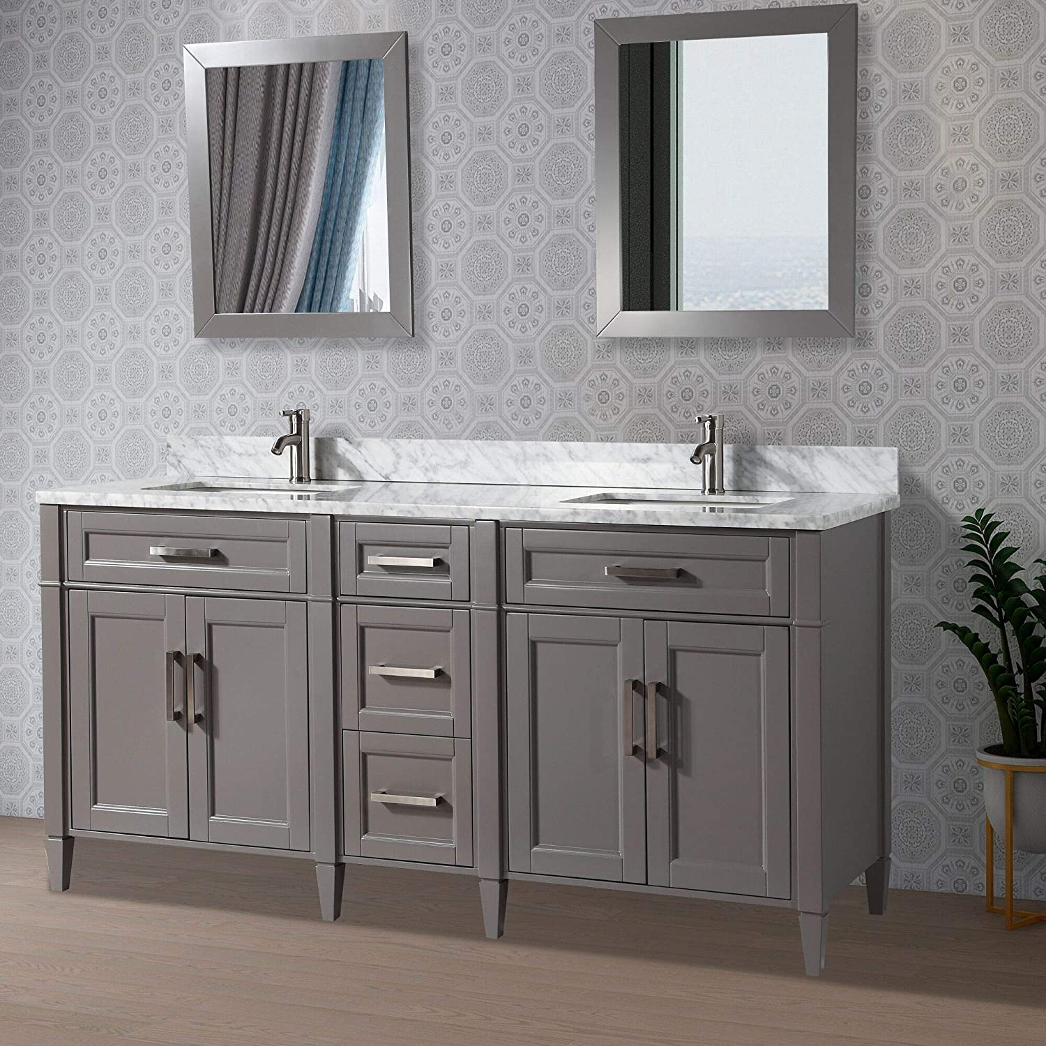 Vanity Art 20 Inches Double Sink Bathroom Vanity Set Carrara Marble Stone  Top Dove Tailed Drawers Soft Closing Doors Under Mount Rectangle Sink ...