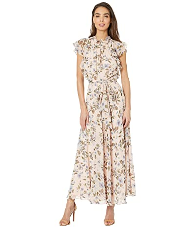Tahari by ASL Ruffle Sleeve Printed Swiss Dot Floral Maxi (Blushing Dot Roses) Women