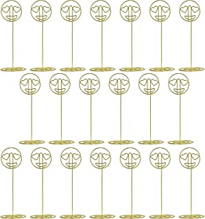 LOSTRONAUT Place Card Holders Table Number Holder - Picture Holder Stand | 20 Pack Heart Eyes Emoji Number Stands for Wedding, Business Card Display, Reserved Sign, Photo Display, Memo Clip (Gold)