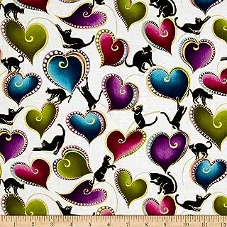 Benartex Cat-I-tude Hearts and Cats Metallic White/Multi Fabric by The Yard