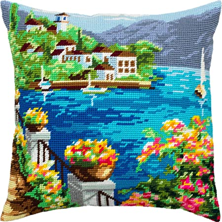 Coffee Throw Pillow 16/×16 Inches Needlepoint Kit European Quality Printed Tapestry Canvas