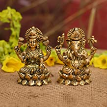 Collectible India Laxmi Ganesh Set Idol Showpiece - Brass Gold Finish Lakshmi Ganesha Idols Statue for Diwali Gifts Puja