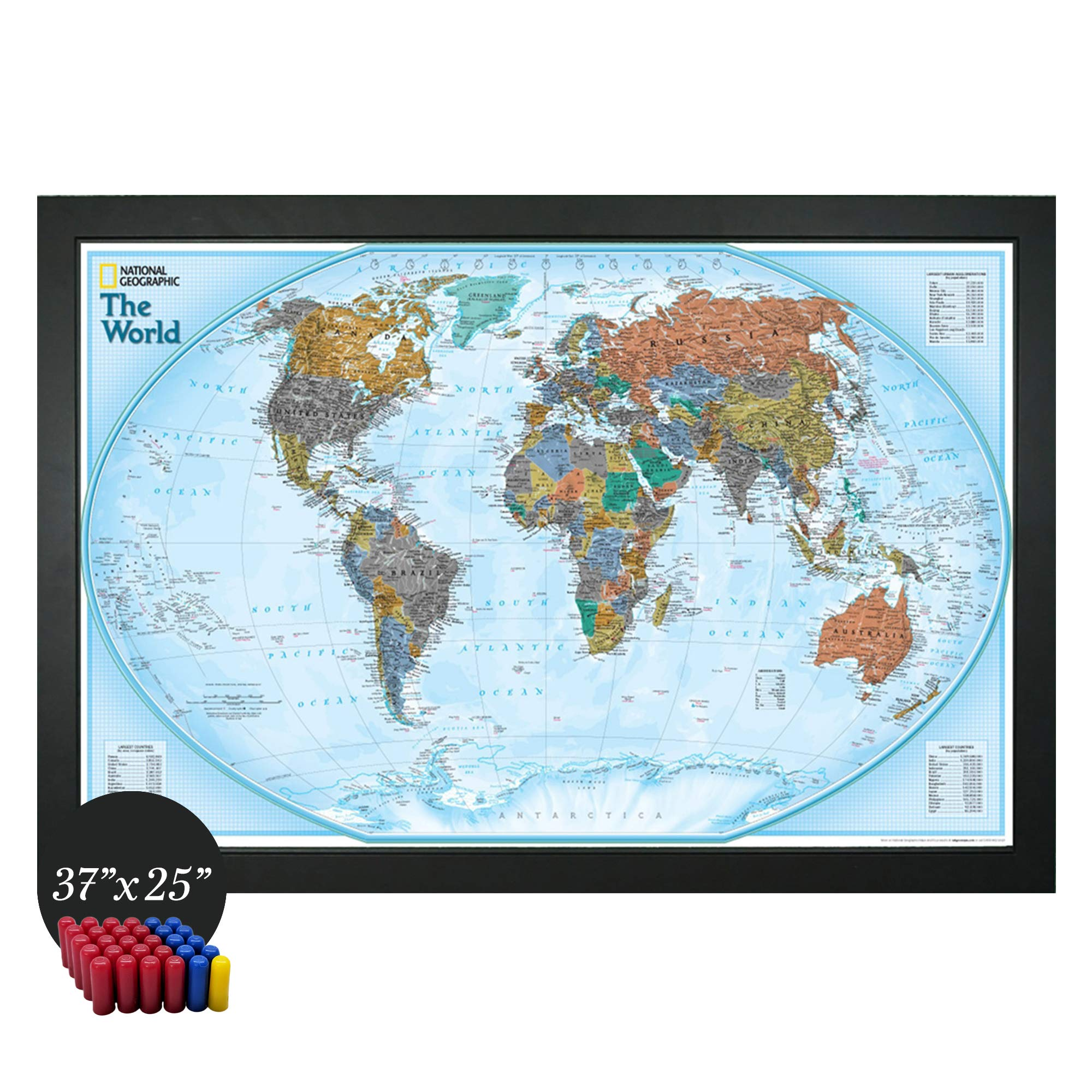 Mapa del mundo interactivo nacional geográfico de Home Magnetics | Mapa geográfico magnético enmarcado | 30 marcadores incluidos: Amazon.es: Oficina y papelería