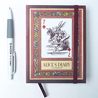 Alice's Diary with AHZOA Pencil, Undated Monthly Weekly Daily Planner, 4.33 x 5.59 Inch, Date is Not Printed Dateless Hardcover Hardback