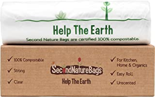 Second Nature Bags, Premium Certified 100% Compostable Biodegradeable, Extra Thick, Kitchen Food Scraps & Home Trash Bags (3 Gallon)