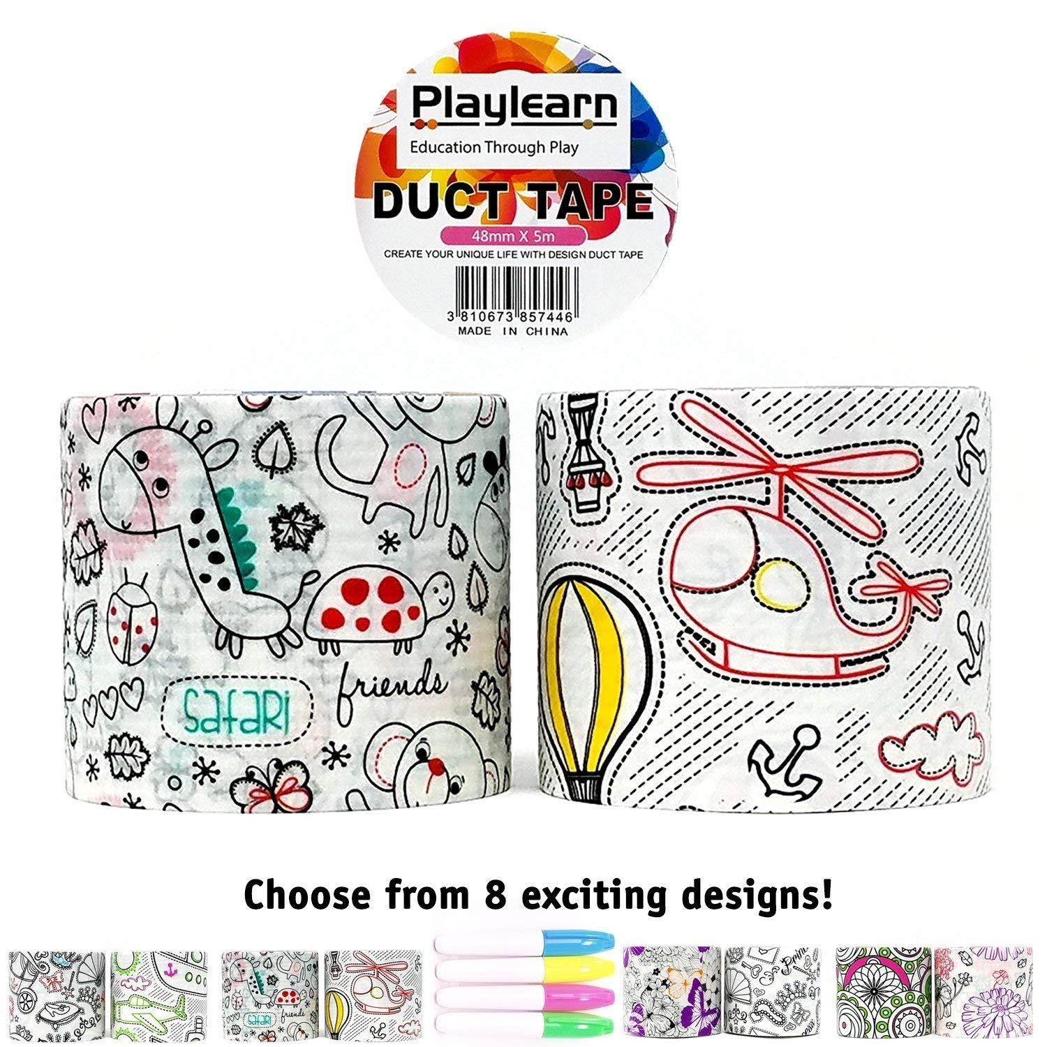 Design Duct Tape 48mm x 16 Feet - Kids Fun Extra Strong Printed Arts & Crafts Multi Pack - by Playlearn (Destination Safari)