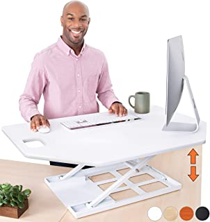 Stand Steady X-Elite Pro Corner Standing Desk   40 Inch Corner Sit to Stand Desk Converter Ideal for Cubicles and L Shaped Desks! Easy Height-Adjustable and Fully Assembled! (White)