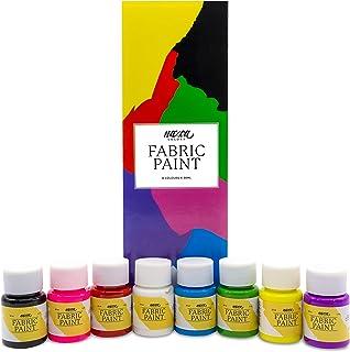 Peinture Textile Permanent Qualité Professionnelle Nazca – Kit 8 Couleurs x 30ml – Peinture pour Tissus Idéale pour Peindr...