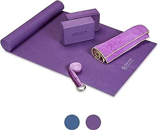 "Gaiam Essentials Yoga Mat Set for Beginners | Kit Includes Premium Yoga Mat (72""Long x 24""W x 6mm Thick) with Yoga Mat Carrier Sling, Yoga Block 2 Pack, 6ft Yoga Strap, Hot Yoga Towel"