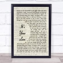 123 BiiUYOO Tim McGraw Its Your Love Song Lyric Vintage Script Print with Frame A3 16