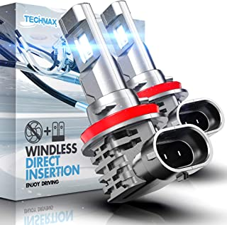 TECHMAX H11 LED Headlight Bulb,Windless Direct Insertion 50W 6500K Xenon White CREE Chips H8 H9 of 2