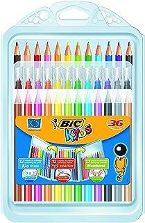 BIC Kids Colouring Set - 12 Marker Felt Pens/12 Colouring Pencils/12 Colouring Crayons