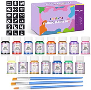lenbest 15 Colores 20 ml Pintura para Tela y Ropa Permanente, Pintura Textil Permanente y Lavable con 3 Pinceles y 9 Patro...
