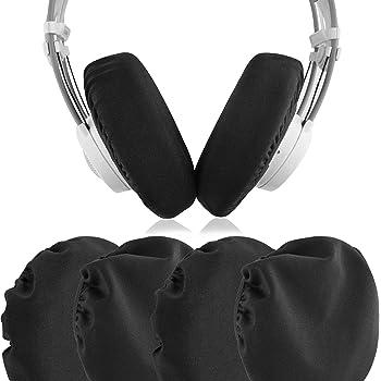 Geekria カバー 織物 防塵 洗える 弾性 (11cm - 16cm) 大型 ヘッドホン ヘッドセット ゲーミングヘッドセット 用 イヤーパッドカバー (2ペア) ブラック