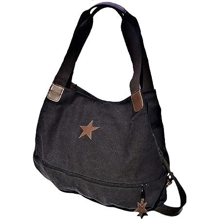 Brakumi Vintage Tasche, große Kapazität, im Outlet, wirtschaftlich, Arbeit, Reisen, Mädchen, Einkaufen, in weichem Stoff. (SCHWARZ)