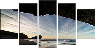 """Designart MT14782-373 Monsul Beach during Sunset Large Seashore Glossy Metal Wall Art, White, 60x32"""""""