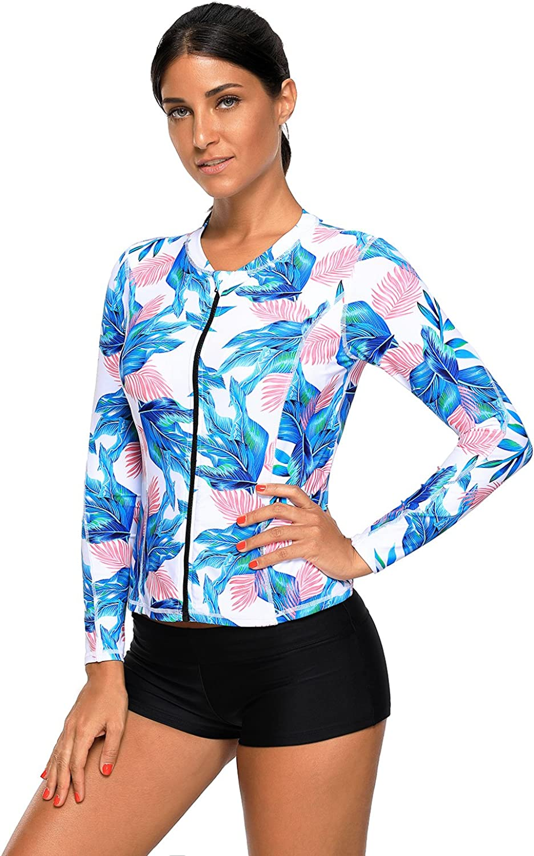 WinnBase Blue Pink Tropical Leaf Zipped Rashguard Top Long Sleeve Bathing Suit for Women