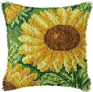 Lanrui Crochette de loquet Kits de Bricolage Couverture d'oreillers avec Un Beau Motif de Tournesol pré-imprimé Crochet de...