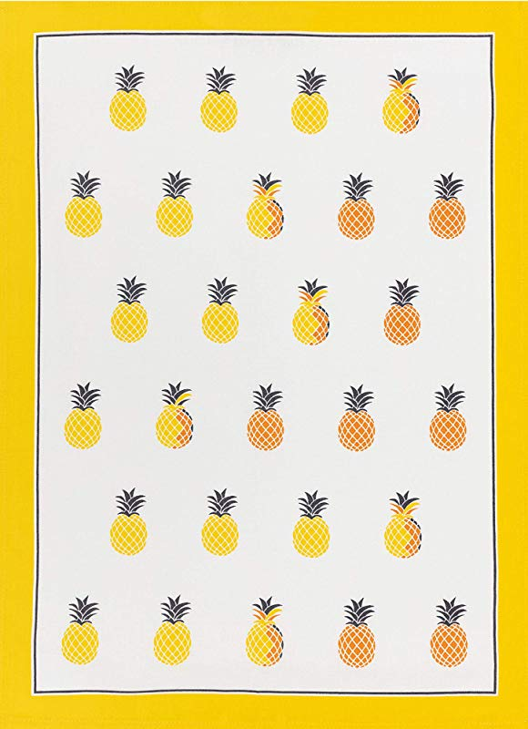 KRACHT Since 1810 Half Linen Printed Kitchen Towel Set Of 2 Pineapple 27 X 20 Inches Soft Absorbent Anti Static And Stain Resistant 50 50 Linen And Cotton Blend